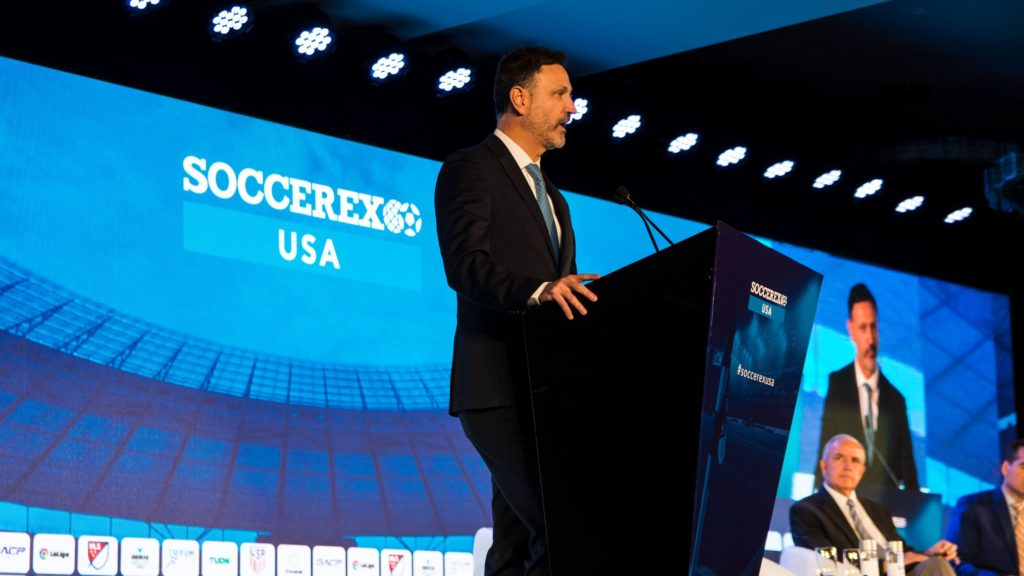 Philippe Moggio, General Secretary of CONCACAF speaking at Soccerex USA 2019